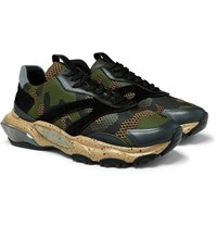 Valentino Garavani Bounce Leather Suede And Mesh Sneakers Army Green