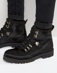 Asos Hiker Boots In Black Faux Pony Hair Black