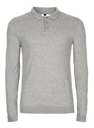 Topman Grey Marl Muscle Fit Polo Neck Jumper