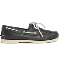 Sperry Ao 2 Eyes Navy Grained Leather Boat Shoes With White Sole