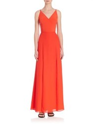 Phoebe Couture Crepe V Neck Chiffon Gown Orange