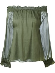 P.A.R.O.S.H. Off The Shoulder Blouse Green