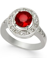 Charter Club Silver Tone Red And Clear Crystal Ring Only At Macy's