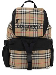 Burberry Large Wilfin Check Nylon Backpack Archive Beige