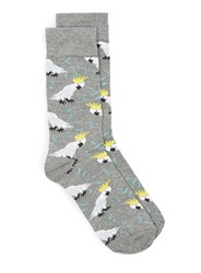 Topman Grey Cockatoo Motif Socks