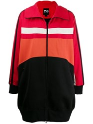 Y 3 Panelled Shell And Jersey Coat Red