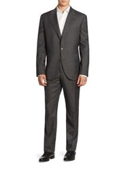 Brunello Cucinelli Two Piece Windowpane Check Wool Suit Grey