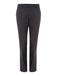 Kenneth Cole Men's Bruckner Checked Slim Fit Suit Trouser Charcoal