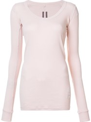 Rick Owens Drkshdw Ribbed V Neck T Shirt Pink And Purple