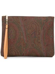 Etro Paisley Patterned Clutch Bag Brown