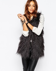 Noisy May Yogi Faux Fur Gilet Grey
