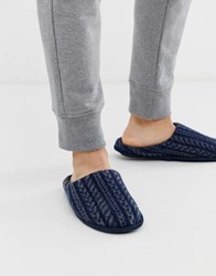 Totes Cable Knit Mule Slipper In Navy