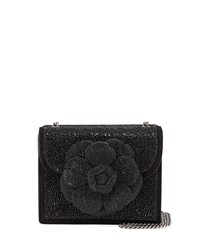 Oscar De La Renta Mini Tro Crystal Suede Crossbody Bag Black