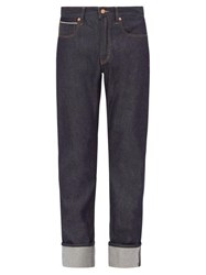 King And Tuckfield Joe Turn Up Tapered Jeans Blue