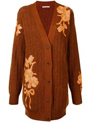 Christopher Kane Floral Embroidered Cardigan Brown
