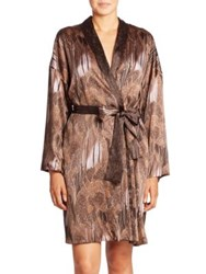 Hanro Adele Botanical Print Robe Brown