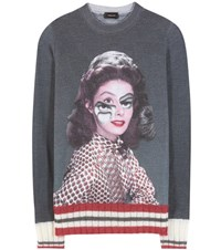 Undercover Printed Wool Sweater Grey
