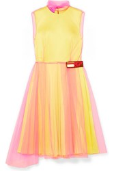 Prada Layered Tulle And Silk Satin Dress Yellow