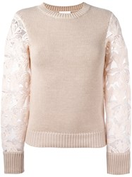 See By Chloe Lace Sleeve Sweater Pink Purple