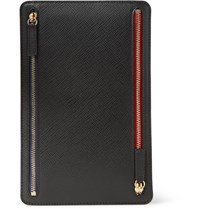 Smythson Panama Cross Grain Leather Currency Case Black