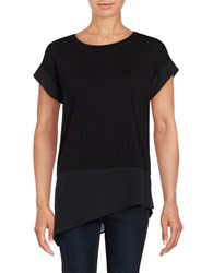 Lord And Taylor Asymmetrical Mix Media Tee Black