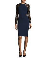 French Connection Viven Lace Trimmed Bodycon Dress Black