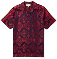 Gucci Camp Collar Webbing Trimmed Jacquard Shirt Red