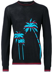 Ermanno Scervino Palm Intarsia Sweater Blue