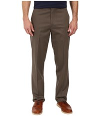 Dockers Signature Stretch Classic Flat Front Dark Pebble Men's Casual Pants Brown