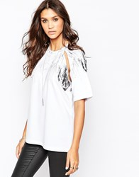 Aka Oversized Top With Cut Out Detail White