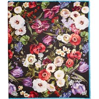 Dolce And Gabbana Multicolor Cashmere Flower Scarf