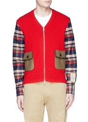 Dsquared Check Plaid Sleeve Zip Cardigan Red