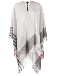 Emporio Armani Striped Asymmetric Poncho 60
