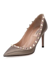 Red Valentino Rockstud 85Mm Pebbled Leather Pump Sasso Poudre Women's