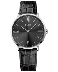Hugo Boss Men's Jackson Black Leather Strap Watch 40Mm 1513369