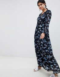 Suncoo Floral Printed Maxi Dress Black