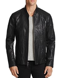 John Varvatos Collection Waxed Leather Motocross Jacket Black