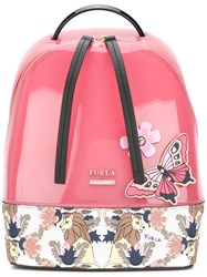 Furla Printed Butterfly Backpack Pink And Purple