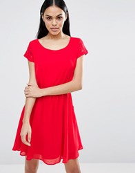 Pussycat London Skater Dress With Pockets Red