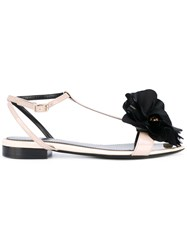 Lanvin Flat Flower Sandals Women Calf Leather Goat Skin Leather 36 Nude Neutrals