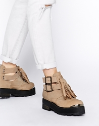 Tba To Be Announced Gracie Buckle Ankle Boots Taupeleather