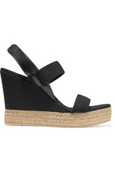 Tory Burch Canvas And Leather Wedge Sandals Black