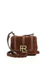Ralph Lauren Mini Rl Whipstitched Suede Crossbody Bag Brown