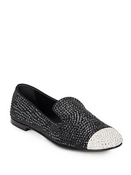 Giuseppe Zanotti Studded Leather Cap Toe Loafers Black White
