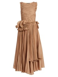 Rochas Pleated Cotton Blend Voile Dress Nude