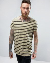 Asos Longline Striped T Shirt With Curved Hem And Roll Sleeve Leuitenant Green