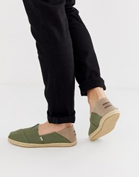 Toms Stamp Down Espadrilles In Khaki Canvas Green