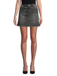 Design Lab Lord And Taylor Beaded Denim A Line Skirt Charcoal