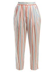 Thierry Colson Sam Striped Silk Trousers Red Stripe