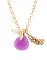 Lonna And Lilly 4Mm Faux Pearl Semi Precious Reconstituted February Birthstone Charm Necklace Purple